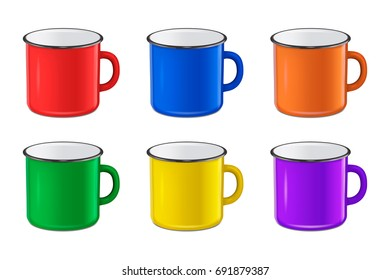 Vector realistic enamel metal red, blue, green and yellow mug set isolated on white background. EPS10 design template for Mock up.