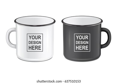 Vector realistic enamel metal white and black mugs isolated on white background. EPS10 design template for Mock up.