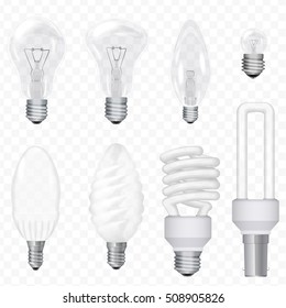 Vector realistic energy saving light bulbs lamps isolated on the transperant background. Lightbulb set