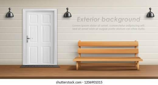 Vector realistic exterior background with veranda facade. Empty terrace with front door, white wall with lamps and wooden bench. Porch of country cottage, place for rest outdoor in private house
