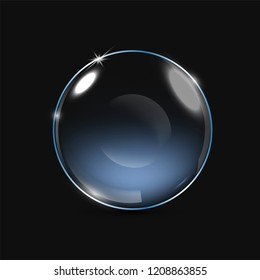 Vector realistic eye contact lens isolated on the black background