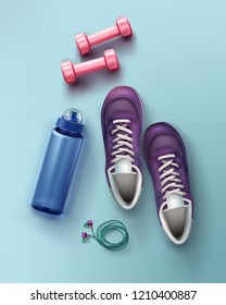 Vector realistic flat lay illustration of sneakers, dumbbells, water bottle and headphones for fitness and sport equipment isolated on background, concept for ads