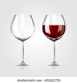 Vector realistic full and empty glasses of red wine beautiful shining  glass isolated on white background with red grape drink. EPS 10