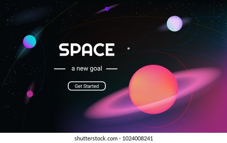 Vector realistic and futuristic space background with bright light planets and stars. Cosmos banner with neon light 3d objects and glowing tracks. Abstract universe with big red planet and promo text