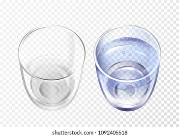 Vector realistic glass empty and cup with blue water on transparent background. 3d glassware for water, juice, bar beverage and soft, alcohol drink. Fragile crockery mockup restaurant cafe top view