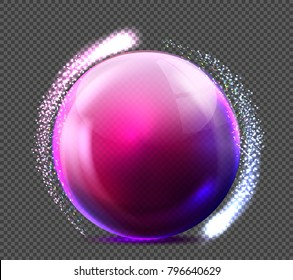 Vector realistic glass purple sphere with glittering light. Glossy empty crystal globe, bubble with reflections, transparent background illustration. Shiny 3d abstract circle for decoration design.