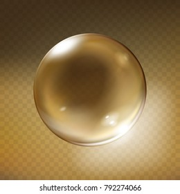 Vector realistic glass sphere. Glossy empty crystal globe, bubble, pearl with reflections, bronze brown transparent background illustration. Shiny 3d magic abstract circle orb for decoration design.