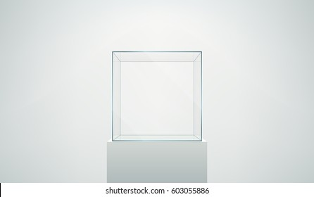 Vector realistic glass square showcase. Empty glass box on a white podium isolated on white.