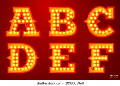 Vector realistic glowing letters with lamps, for circus, movie etc. signs. A, B, C, D, E, F letters include (search other in portfolio).