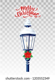 Vector realistic glowing streetlight with poinsettia flower , snowcaps merry christmas lettering inscription. 3d vintage lamppost with snow for xmas, new year holiday poster greeting card design.