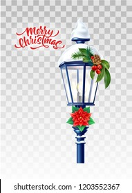 Vector realistic glowing streetlight with poinsettia flower, holly leaves pine cone and snowcaps merry christmas lettering inscription. 3d vintage lamppost xmas, new year holiday poster greeting card