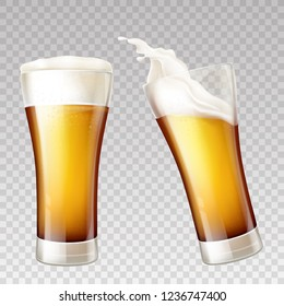 Vector realistic golden beer splashes in transparent glass. White foam on yellow alcohol drink inside of pint, tankard. Mockup for ad poster, promo banner. Ale or other frothy liquid, brewery product