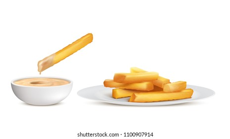 Vector realistic golden french fries, heap of fried potato sticks in white plate and bowl with sauce, isolated on background. Fastfood, crispy chips, unhealthy fatty eating to have fast snack