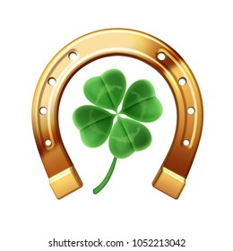 Vector realistic golden horseshoe with quatrefoil clover isolated on a white background. Symbol of luck