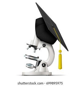 Vector realistic graduation cap hang on the microscope, as a symbol of a new graduated scientist. Isolated on white background.