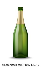 Vector Realistic green with gold open Champagne bottle isolated on white background. Mockup template blank for product packing advertisement.