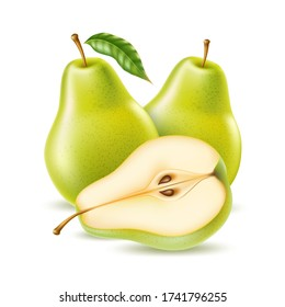 Vector realistic green pear whole and half for organic food, drink product design. Fresh sweet fruit full of vitamins for healthy eating, diet. Natural product, fruity ripe dessert.