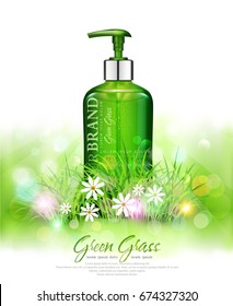 Vector realistic, green,transparent bottles 3d with soap pump on green grass background and sun rays.Cosmetic vial wish herbal shampoo,gel.Elements,template for cosmetic business,advertising,promotion