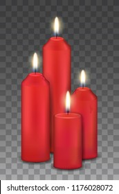 Vector realistic group of four red burning candles - advent, christmas decorations