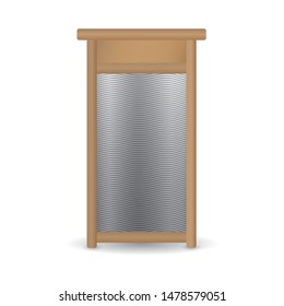 Vector realistic hand ribbed metal washboard in wooden frame isolated on white background. 3D illustration.