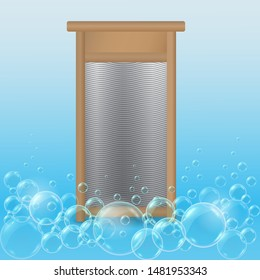 Vector realistic hand ribbed metal washboard in wooden frame on blue soap bubbles background. 3D illustration.