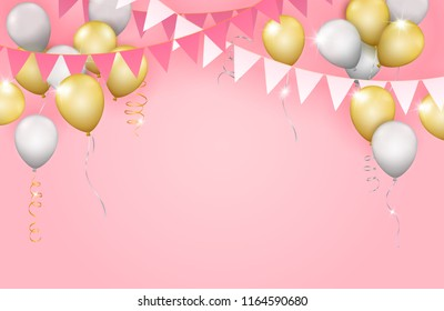 Vector realistic hanging girlands, gold and silver balloons and streamers on pastel pink background - invitation or card template