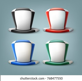 Vector realistic hat of soccer fan in different colors isolated on background.