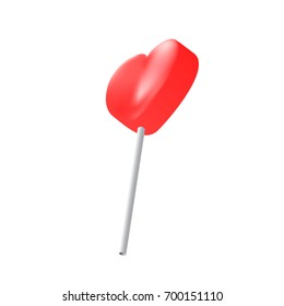 Vector realistic heart lollipop isolated on white background. Love symbol. Valentine's Day symbol. Vector illustration of red sweet candy on stick.