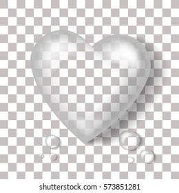 Vector realistic heart-shaped water drop on the transparent background. Concept of Happy Valentine's Day.