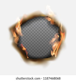 Vector realistic hole burnt in paper with brown edges and flames on transparent background