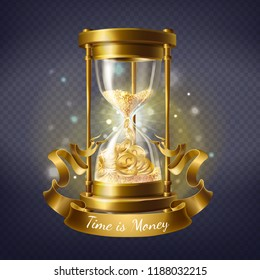 Vector realistic hourglass, antique timer with sand inside to measure hours and minutes, isolated on background. Sandglass with golden coins and vintage ribbon. Time is money, concept illustration