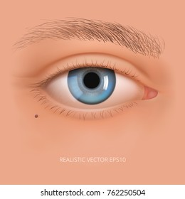 Vector realistic human eye without makeup. Glossy blue iris with a macro details. Facial element on a sweet skin background. Useful for design of laser vision correction and also make up, cosmetics.