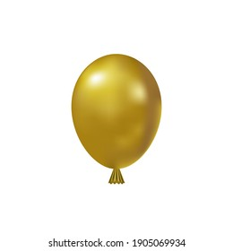 Vector realistic illustration 3d style. Golden Inflatable air balloon isolated on white background.Decoration for holiday, birthday for your design.
