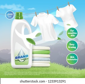 Vector realistic illustration of advertising loundry detergent, pile of fresh white clothes, dried and folded. Shirts are dried on a rope. Product packaging design on mountain background