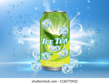 Vector realistic illustration of aluminium can with ice tea label and ice cubes, bubbles around it. Green ice tea aluminum can package mock up. Ice tea drink poster, banner, flyer design template.