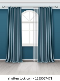 Vector realistic illustration of arch window with long pair teal blue curtains hanging on rod in room with wooden floor, element of interior