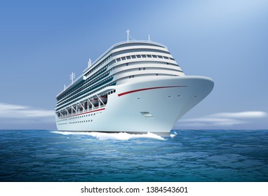 Vector realistic illustration of big white cruise ship at ocean or sea isolated on blue sky background, perspective view