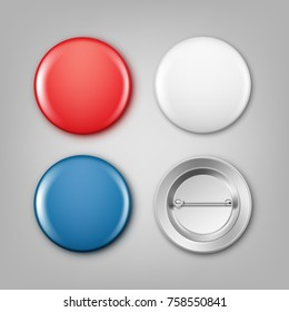 Vector realistic illustration of blank white, blue and red badges. Isolated on gray bkground