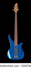 Vector realistic illustration of blue bass guitar
