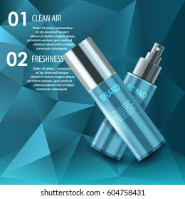 Vector realistic illustration. Body care, skin protect, natural product with vitamins and minerals. Polygonal background, spray bottles