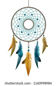 Vector realistic illustration of boho native american handmade dreamcatcher, template ethnic round talisman with feathers threads and beads rope hanging isolated on white background