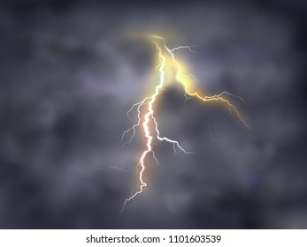 Vector realistic illustration of bright thunderbolt, lightning strike in clouds on night background. Thunderstorm with electric discharge on dark sky, bad weather, dangerous natural phenomena