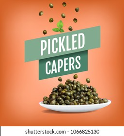 Vector realistic illustration of canned pickles capers. Plate with capers flower in marinade. Healthy farm plants, organic gourmet antipasti. Colorful  isolated objects on colorful background.