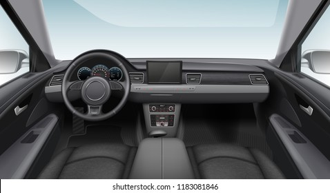 Vector realistic illustration of car dark interior with dashboard windshield and steering wheel with street outside window