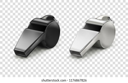 Vector realistic illustration classic coaches metal black and white sports close-up of whistle isolated on transparent background