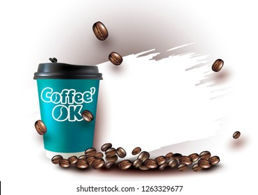 Vector realistic illustration of Coffee Cup.Cappuccino.Latte.Americano coffee with Logo. Coffee Logo.3D Vector coffee Beans.