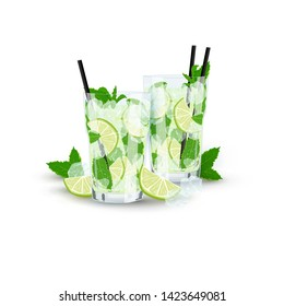 Vector realistic illustration of couple of glasses with lemonade or Mojito cocktail. Hand drawn glasses of classic Mojito with lime, mint and ice on white background. Summer cocktails party drink.