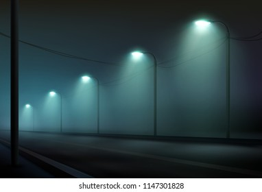 Vector realistic illustration of empty dark urban road lit by lanterns lamp in the fog foggy the night town street lighting in cold color