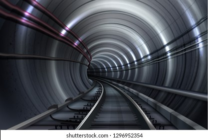 Vector realistic illustration of empty dark underground subway pipe shape tunnel or train with rails and lights, perspective view