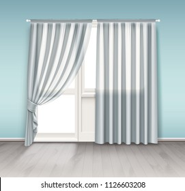 Vector realistic illustration of empty room light minimal interior with white transparent curtains hang on window with balcony door isolated on wall background